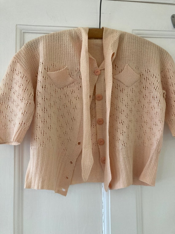 1930s hand knitted peach coloured top