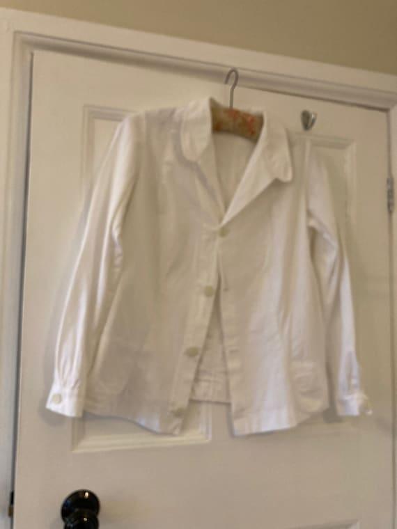1940s crisp white cotton blouse