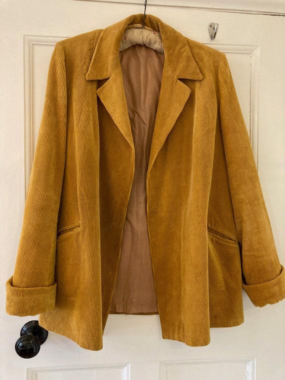 1940s mustard colour corduroy swing jacket coat