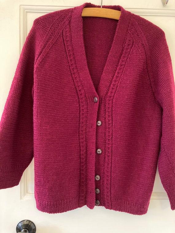 1950s hand knit burgundy wool cardigan