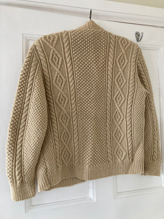 1960s Aran hand knit cardigan 100% wool - image 4