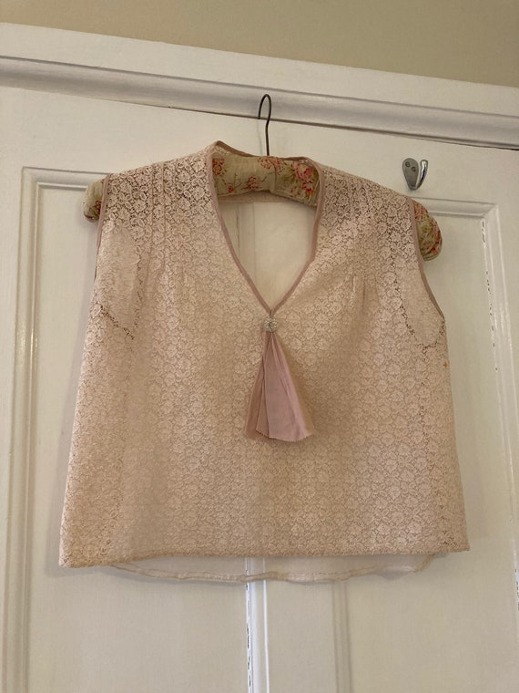 1930s pale pink lace dickie blouse