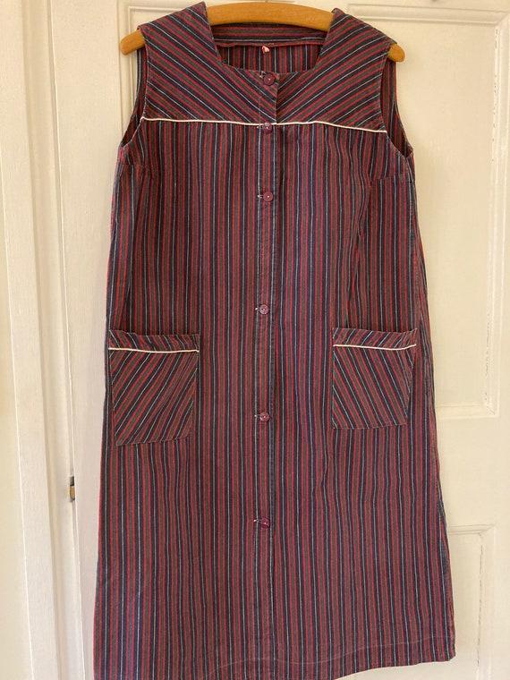 1940s striped work wear apron dress