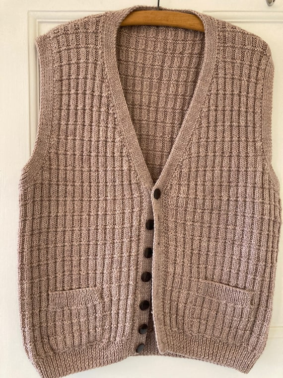 1970s 40s style hand knitted wool waistcoat