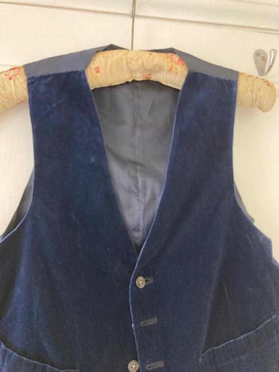 1930s midnight blue hand made velvet waistcoat