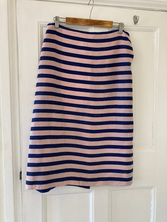 1930s navy blue and pastel pink striped linen skir