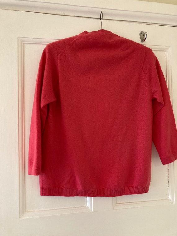 1950s Ballantyne fuchsia pink cashmere cardigan - image 4