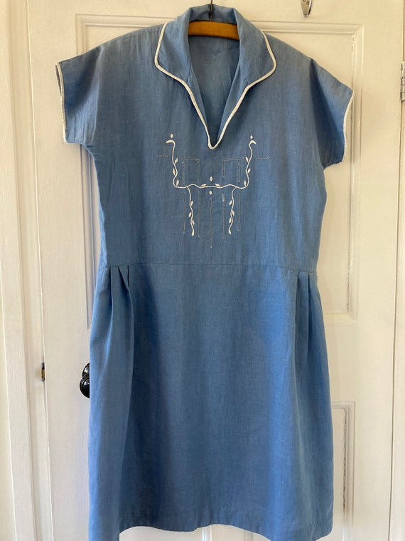 1930s periwinkle blue cotton embroidered day dress