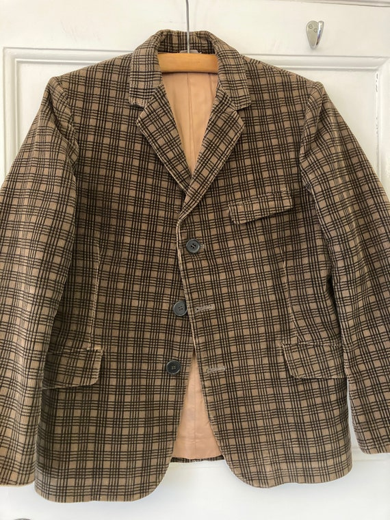 1930s brown and black check corduroy jacket