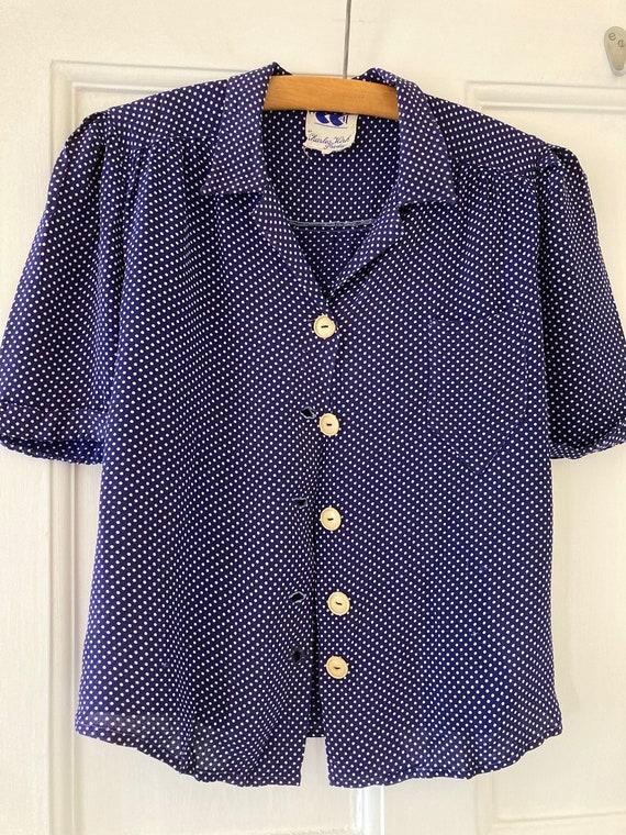 1940s CC41 blue polka dot short sleeve blouse