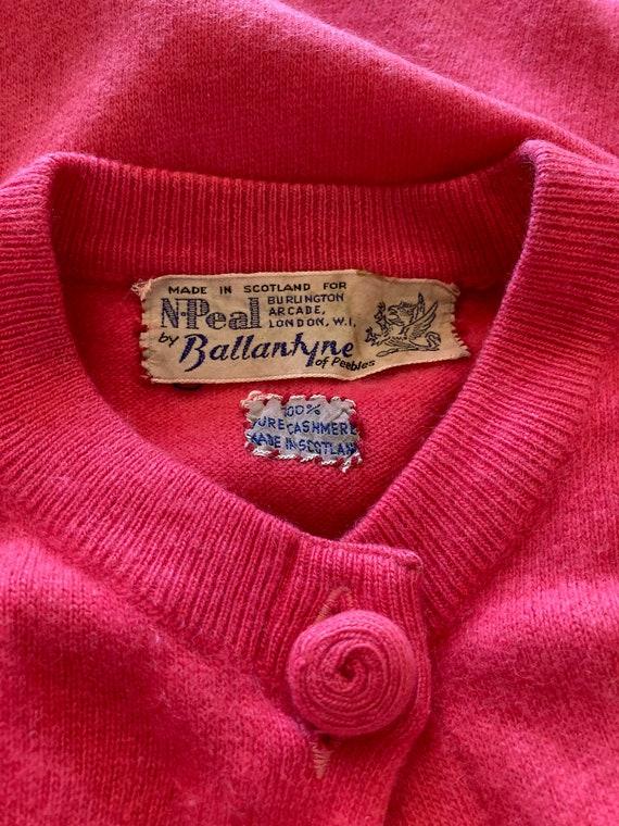 1950s Ballantyne fuchsia pink cashmere cardigan - image 6