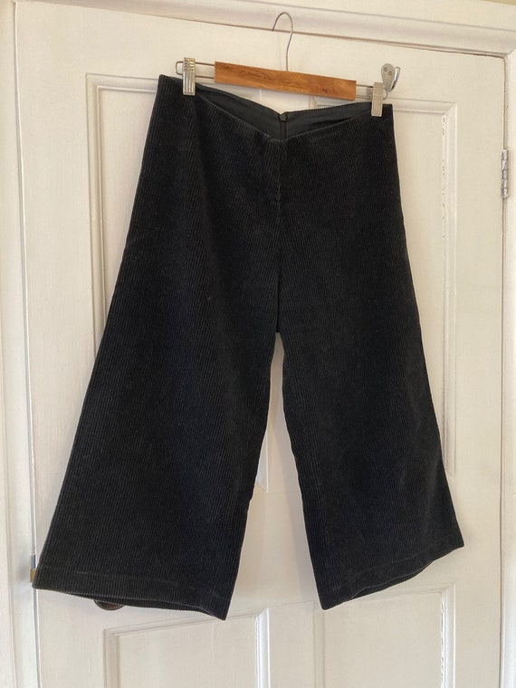 1970s black corduroy shorts or culottes