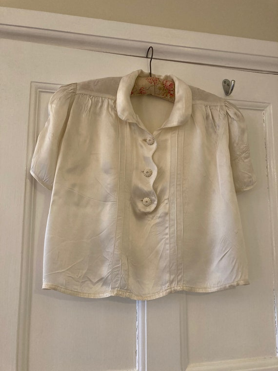 1930s ivory satin blouse
