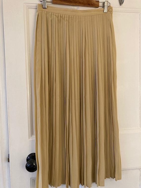 1980s butter coloured, silky, long pleated skirt