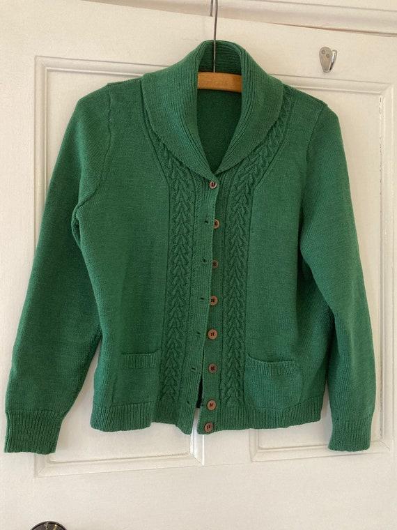 1940s hand knitted dark green wool cardigan