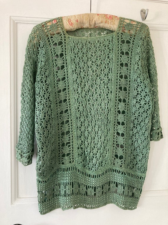1920s sage green hand crocheted flapper top