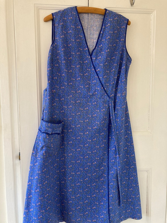1940s periwinkle blue apron style cotton work wear