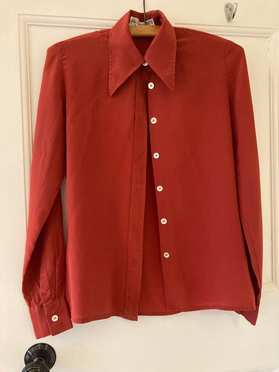 1970s brick red silk Jacques Fath blouse