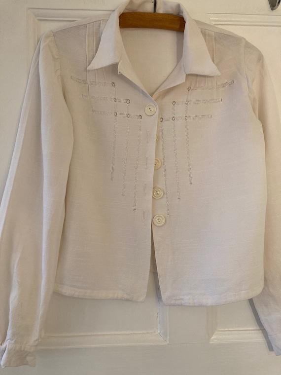 1940s drawn thread work cotton blouse
