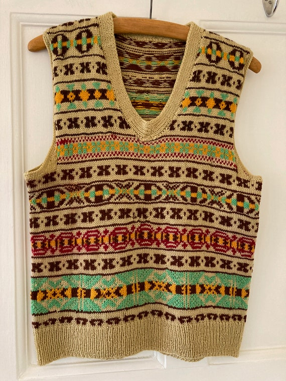1940s hand knitted Fairisle wool tank top