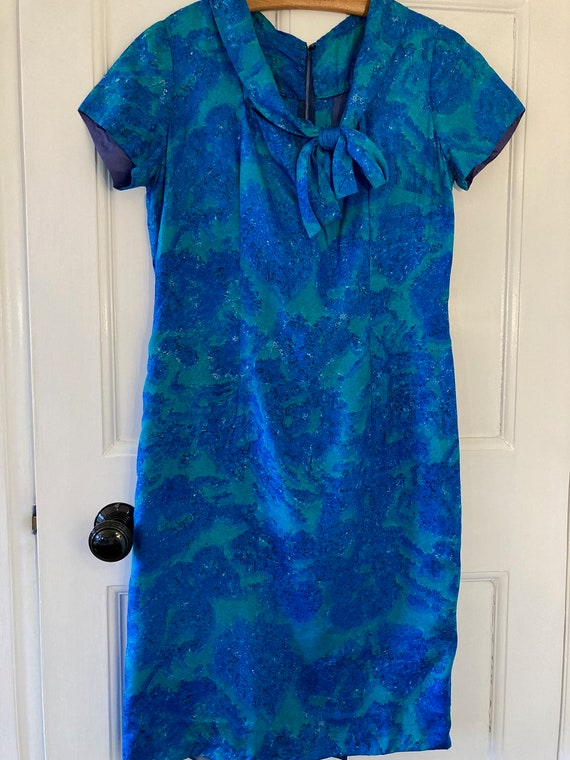 1950s blue and green silky shift dress