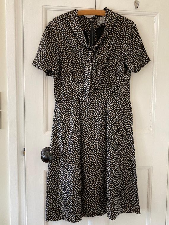 1950s Cresta Couture black pattern silk shift dres