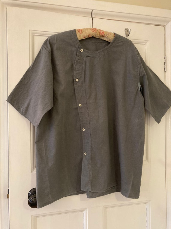 1930s grey brushed cotton work wear shirt