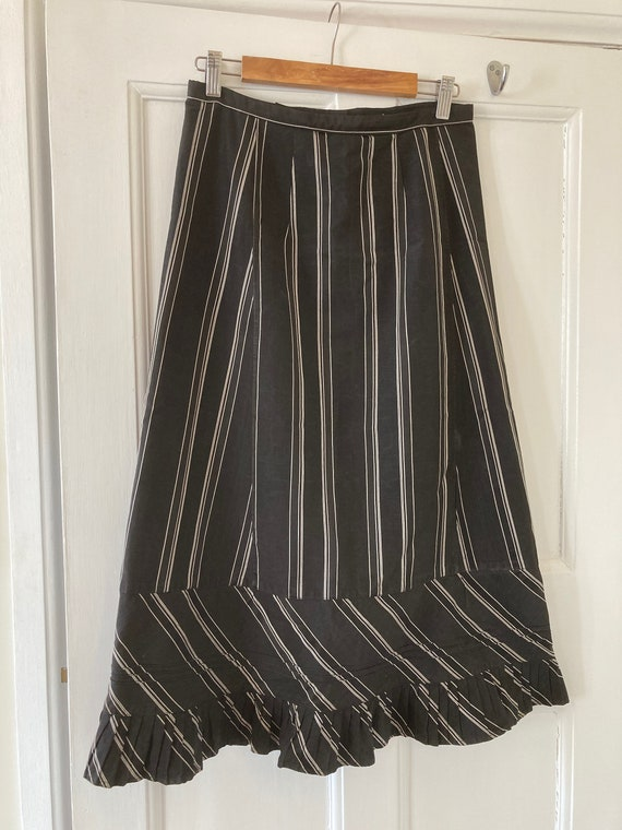 1910s black and cream stripe satinised cotton work