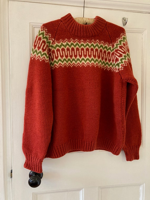 1960s brick red wool Nordic style jumper