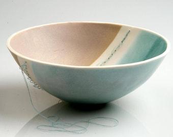 Stitched Ceramic Bowl - handmade fine porcelain bowl with a unique hand stitched twist. Decorative ceramic kitchen pottery