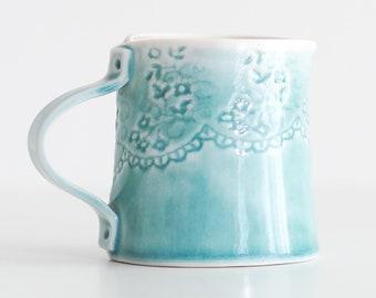 Aqua Lace Milk Jug / Pitcher - small fine porcelain handmade ceramic dinnerware with lace imprint detail and aqua blue glaze
