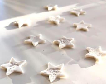 Mini Stars Table Decor - set of 10 handmade ceramic porcelain stars, Christmas table decor, wedding table decor, reuseable confetti