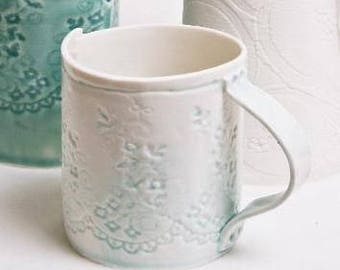 Light Blue Porcelain Lace Mug - hand thrown porcelain coffee or tea mug with lace impression handmade unique ceramic dishwasher safe tea cup