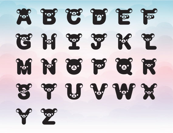 cute bear font bear alphabet kids room letter children etsy