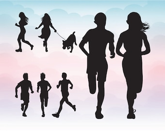 Running silhouettes vector, Decal Designs - Vector Art Vinyl Ready Designs EPS Ai SVG Digital Download