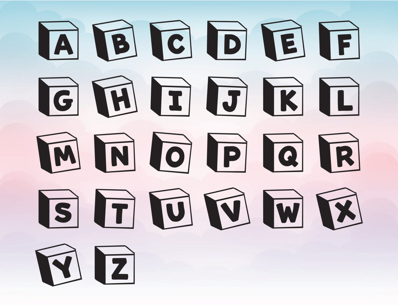 3d Blocks Vinyl Letters Toy Svg Font Vector Alphabet For