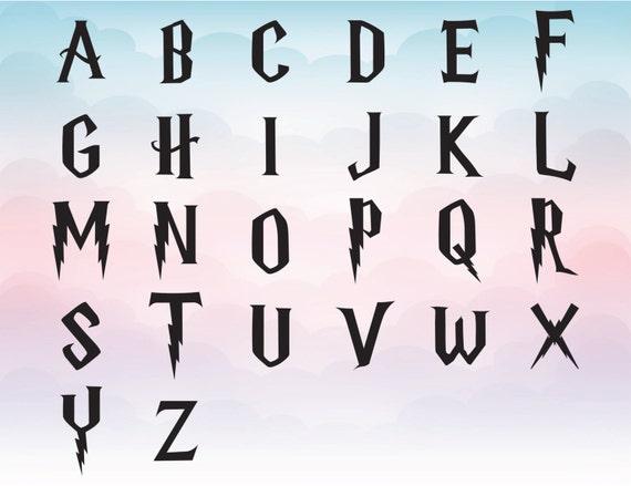 harry potter svg font clipart harry potter alphabet for | etsy
