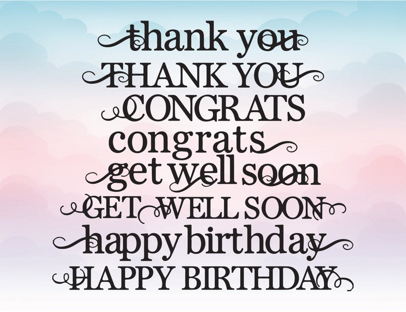 Vector Quotes Thank You Congrats Get Well Soon Happy Birthday Etsy