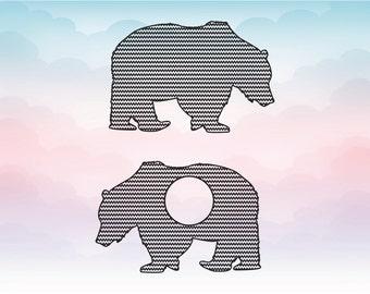 Bear SVG - chevron pattern monogram frame - Bear monogram -  mama bear clipart - digital download svg, eps, dxf, png - Nursery decor SVG