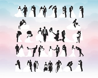 Wedding couples dancing in several positions White dress and tuxedo SVG, print DXF, AI, ps and pdf Cutting Files for  Cutting Machines