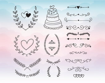 Wedding Elements  Cake Hearts Cutting File Set in Svg, Eps, Dxf, Pdf, Png for Silhouette and cricut