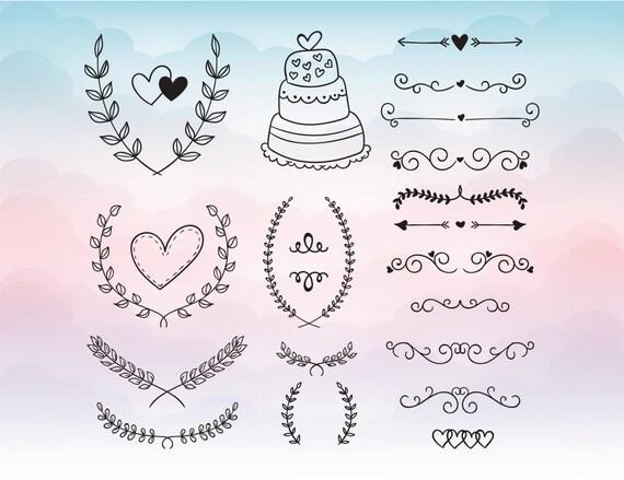 Hochzeit Elemente Kuchen Herz Schneiden Datei Gesetzt In Svg Etsy