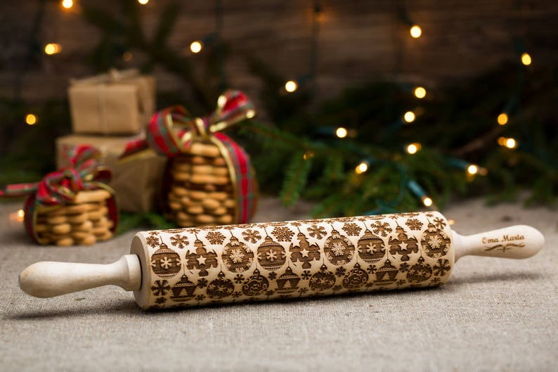 Merry Christmas Christmas cookies Christmas gift Embossing dough roller Christmas embossing rolling pin Engraved rolling pin Cookies