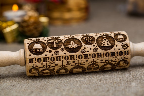 Snowflakes Engraved Rolling Pin Embossed Dough Roller Xmas Rolling by Oma Marta