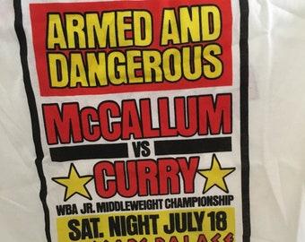 "Original ""Armed and Dangerous"" McCallum vs. Curry Boxing Shirt - Size 34/36 - 1987 - NEW - Caesars Palace Las Vegas"