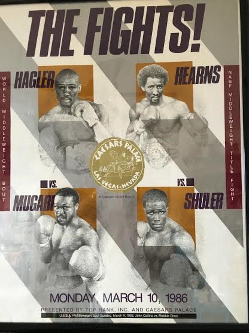 1986 Hagler v Poster Caesars Palace Las Vegas Mugabi and Hearns v Shuler THE FIGHTS Official On-Site Poster