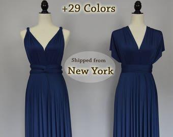 Midnight Blue honeymoon dress, infinity dress, ball gown, Bridesmaid dress, infinity convertible maxi dress, short dress for wedding