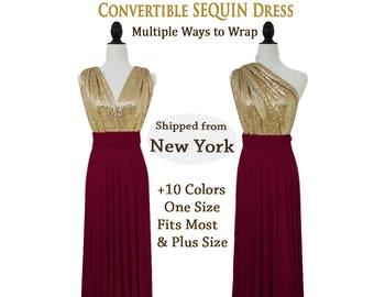 Convertible sequin bridesmaid dress, Gold Sequin bridesmaid dress, infinity sequin dress , dusty rose sequin dress