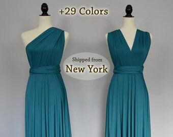 Teal green Wrap dress convertible bridesmaid dresses, infinity dress, sororities dress, infinity bridesmaid dress, prom dress, Ball gown