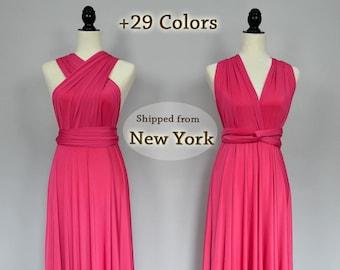Fuchsia party dresses, hot pink convertible fuschia bridesmaid dresses, formal dress, infinity convertible dress, short multi wear dress